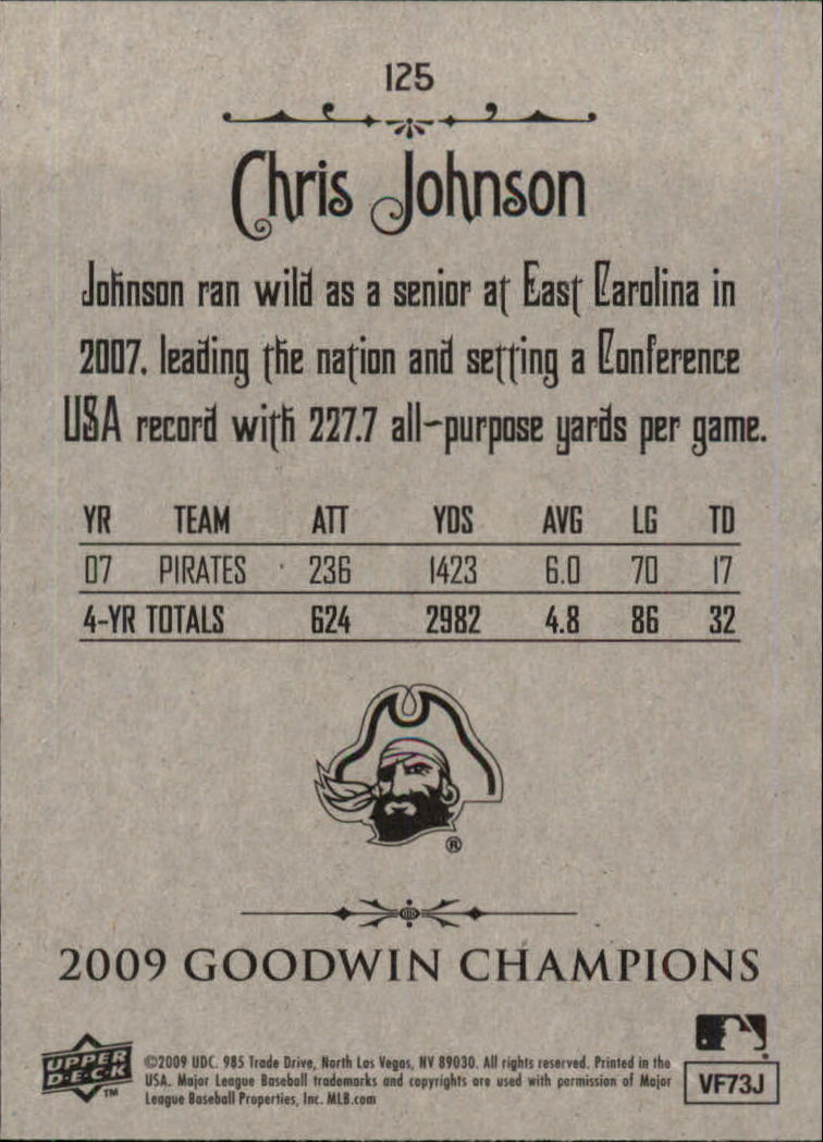 2009 Upper Deck Goodwin Champions #125 Chris Johnson back image
