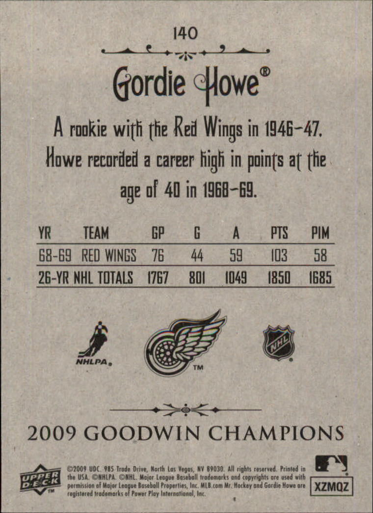 2009 Upper Deck Goodwin Champions #140a Gordie Howe Day back image