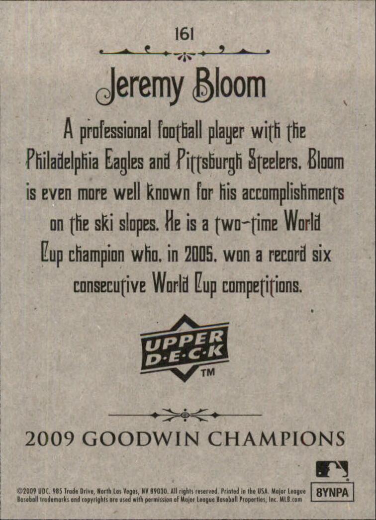 2009 Upper Deck Goodwin Champions #161 Jeremy Bloom SP back image