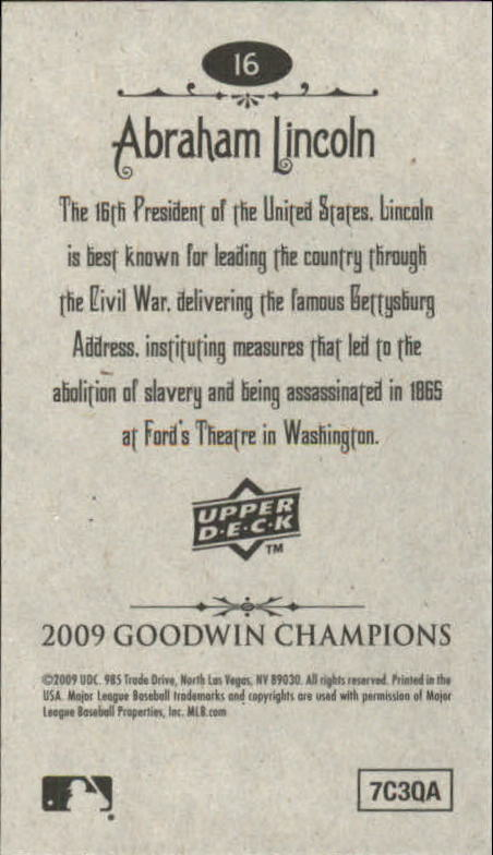 2009 Upper Deck Goodwin Champions Mini #16 Abraham Lincoln back image