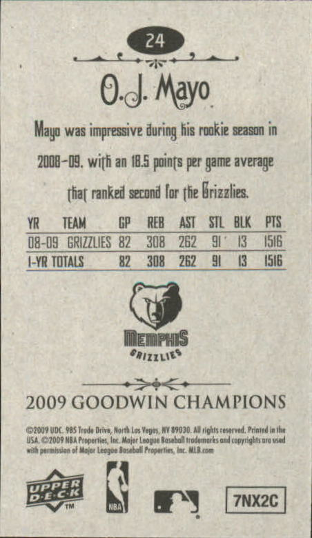 2009 Upper Deck Goodwin Champions Mini #24 O.J. Mayo back image
