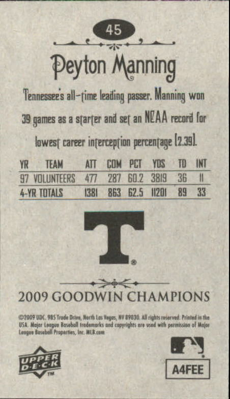 2009 Upper Deck Goodwin Champions Mini #45 Peyton Manning back image