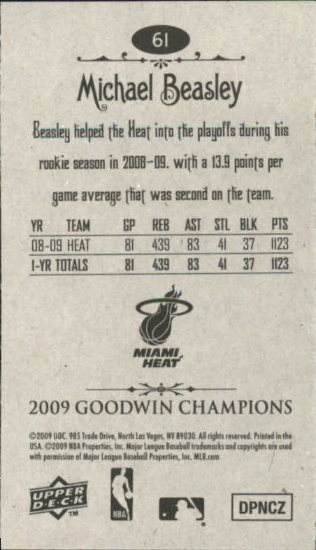 2009 Upper Deck Goodwin Champions Mini #61 Michael Beasley back image