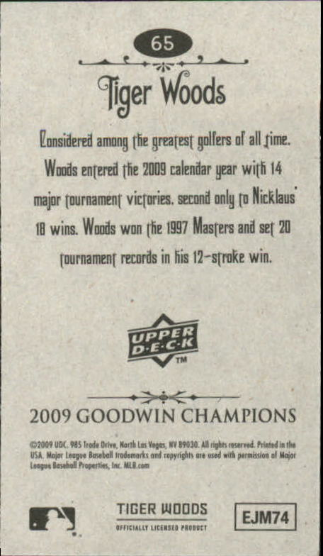 2009 Upper Deck Goodwin Champions Mini #65 Tiger Woods back image