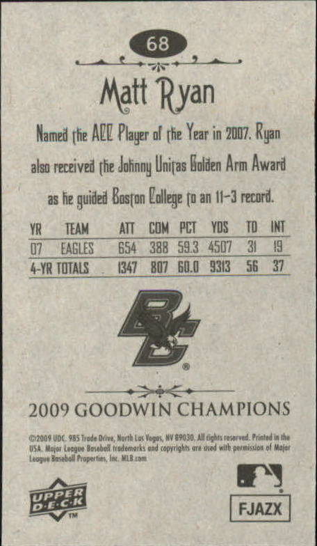 2009 Upper Deck Goodwin Champions Mini #68 Matt Ryan back image