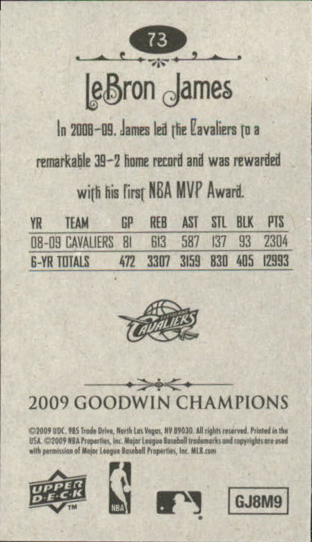 2009 Upper Deck Goodwin Champions Mini #73 LeBron James back image