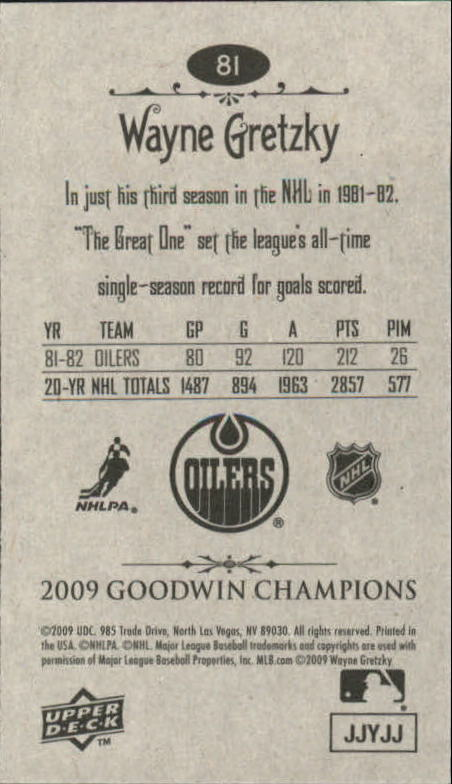 2009 Upper Deck Goodwin Champions Mini #81 Wayne Gretzky back image