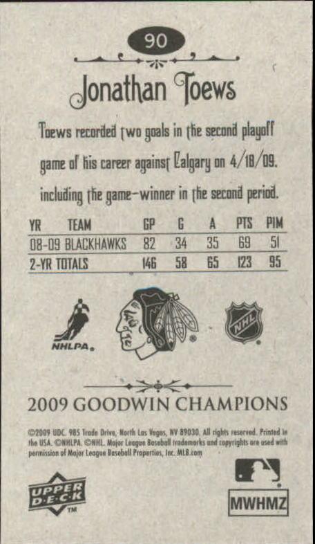 2009 Upper Deck Goodwin Champions Mini #90 Jonathan Toews back image