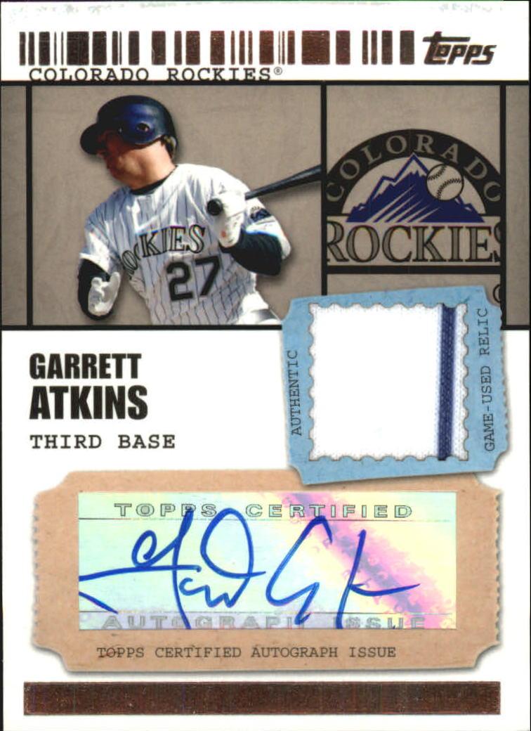 2009 Topps Ticket to Stardom Autograph Relics #GA Garrett Atkins A