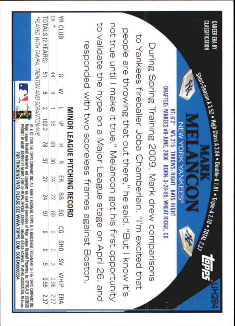2009 Topps Update #UH284 Mark Melancon RC back image