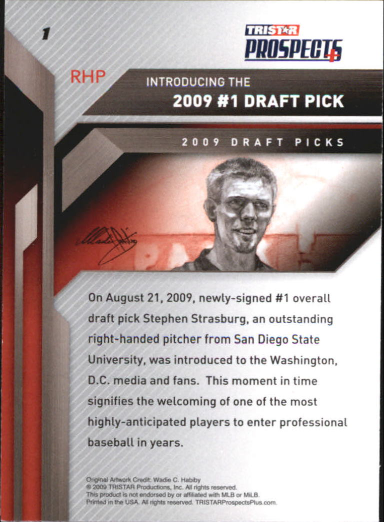 2009 TRISTAR Prospects Plus #1A Stephen Strasburg back image