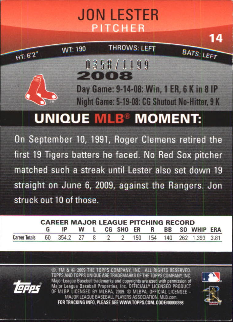 2009 Topps Unique Red #14 Jon Lester back image