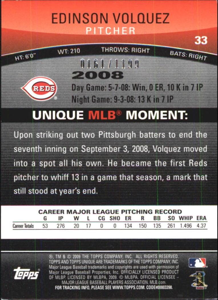 2009 Topps Unique Red #33 Edinson Volquez back image