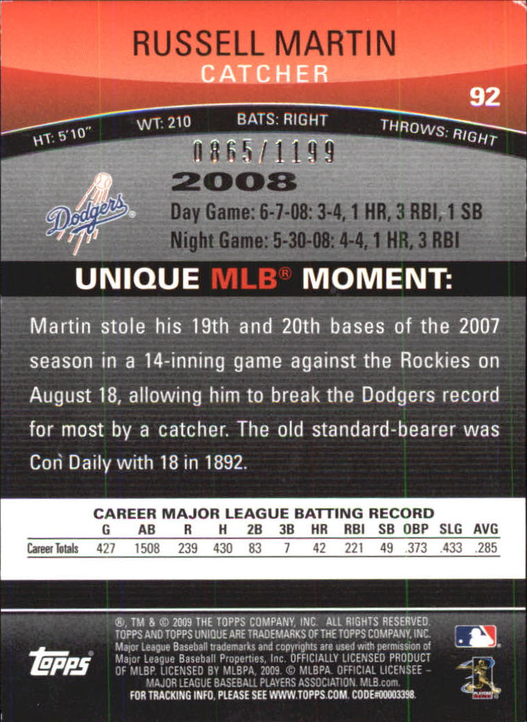 2009 Topps Unique Red #92 Russell Martin back image
