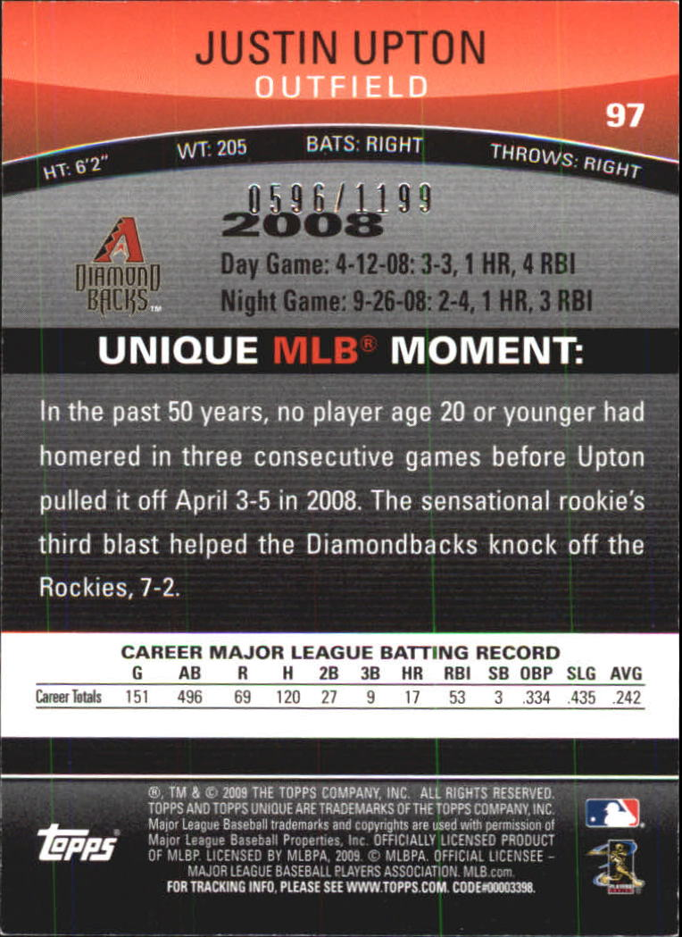 2009 Topps Unique Red #97 Justin Upton back image