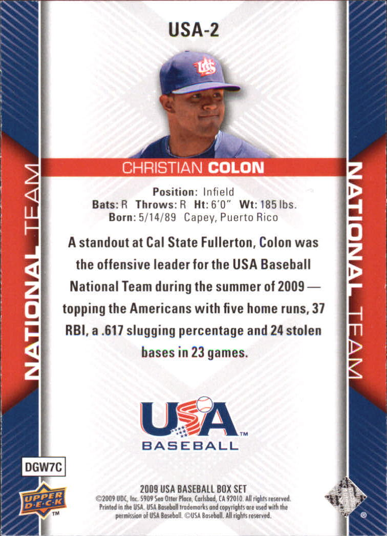 2009-10 USA Baseball #USA2 Christian Colon back image