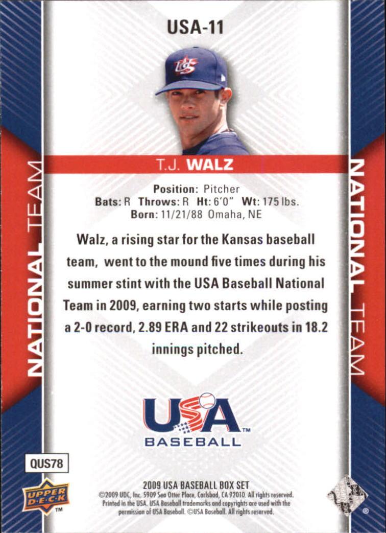 2009-10 USA Baseball #USA11 T.J. Walz back image