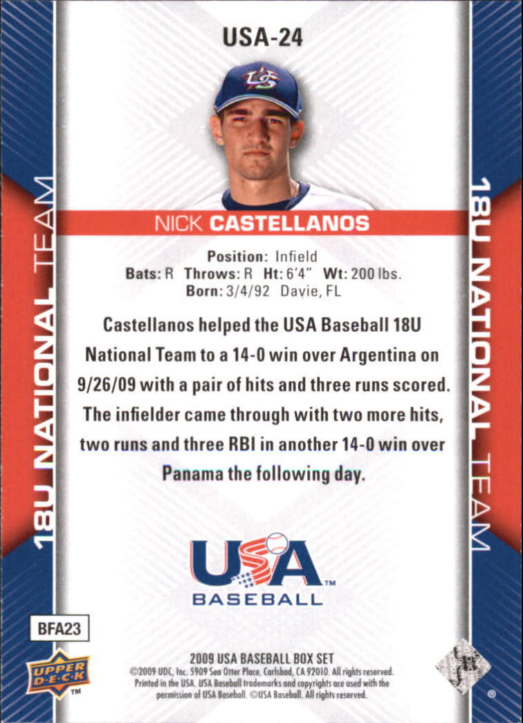 2009-10 USA Baseball #USA24 Nick Castellanos back image