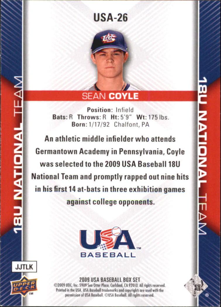2009-10 USA Baseball #USA26 Sean Coyle back image