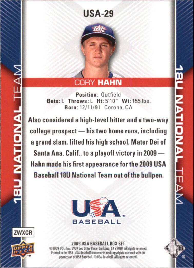 2009-10 USA Baseball #USA29 Cory Hahn back image