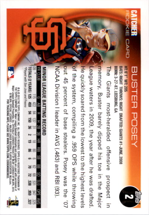 2010 Topps #2 Buster Posey RC back image