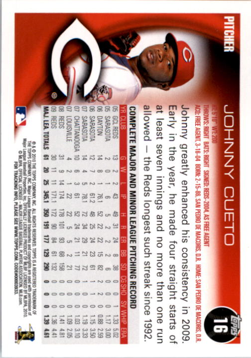 2010 Topps #16 Johnny Cueto back image