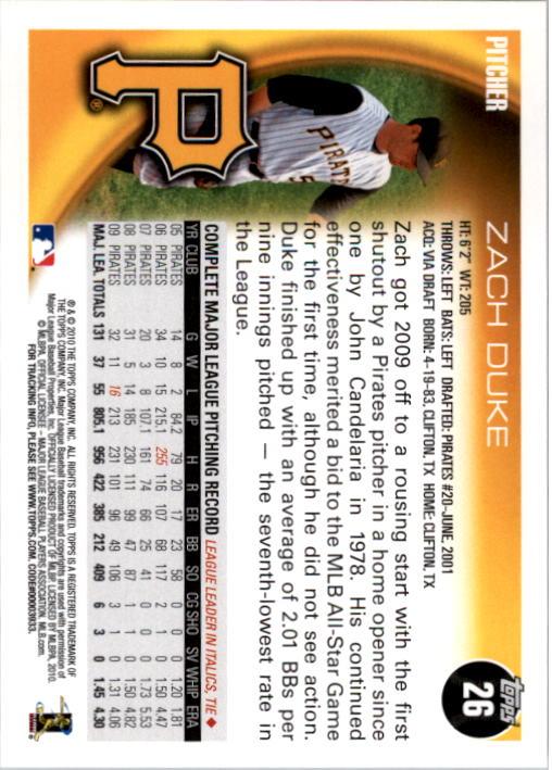 2010 Topps #26 Zach Duke back image