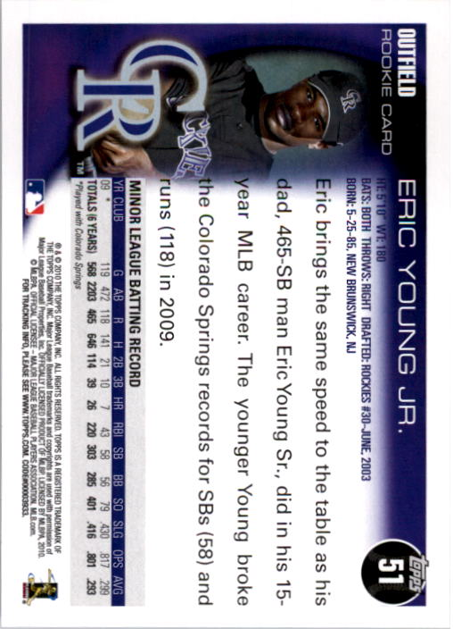 2010 Topps #51 Eric Young Jr back image