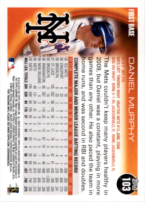 2010 Topps #103 Daniel Murphy back image