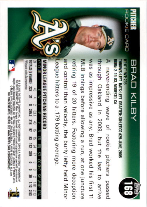 2010 Topps #168 Brad Kilby RC back image