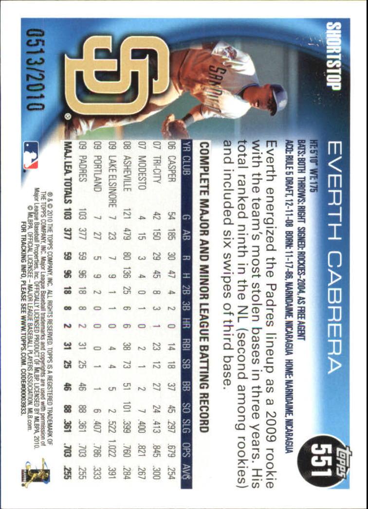 2010 Topps Gold Border #551 Everth Cabrera back image