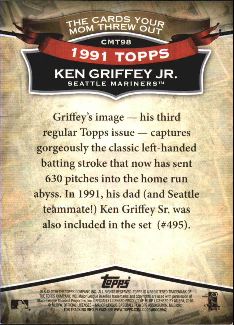 2010 Topps Cards Your Mom Threw Out #CMT98 Ken Griffey Jr. back image
