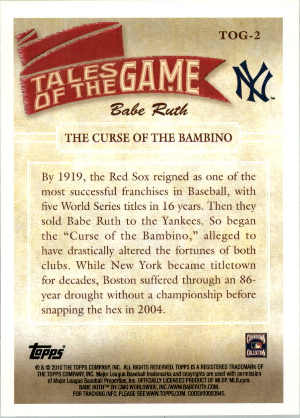 2010 Topps Tales of the Game #TOG2 The Curse of the Bambino back image