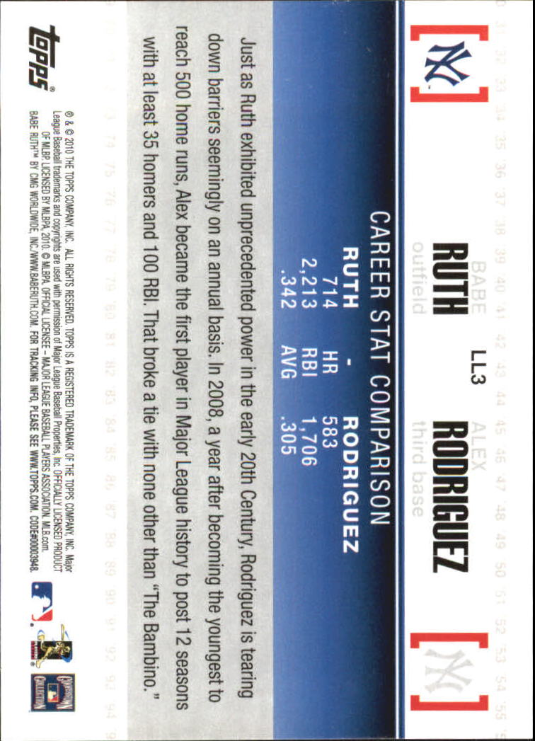 2010 Topps Legendary Lineage #LL3 Babe Ruth/Alex Rodriguez back image