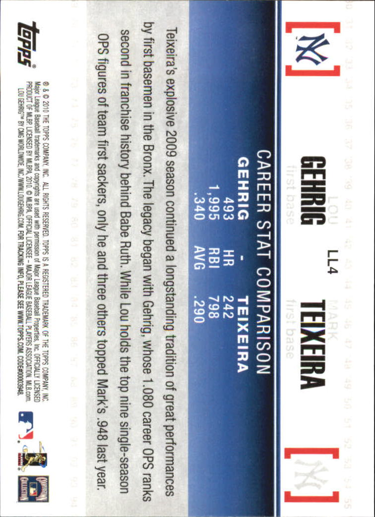 2010 Topps Legendary Lineage #LL4 Lou Gehrig/Mark Teixeira back image