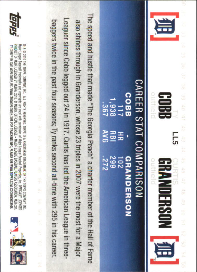 2010 Topps Legendary Lineage #LL5 Ty Cobb/Curtis Granderson back image