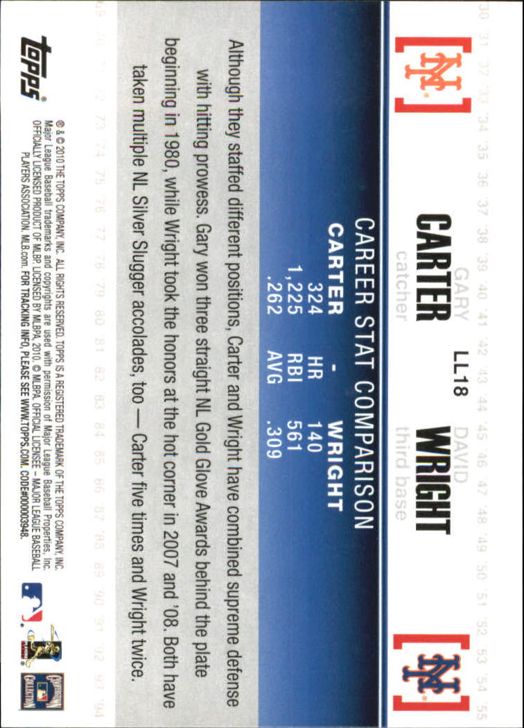 2010 Topps Legendary Lineage #LL18 Gary Carter/David Wright back image