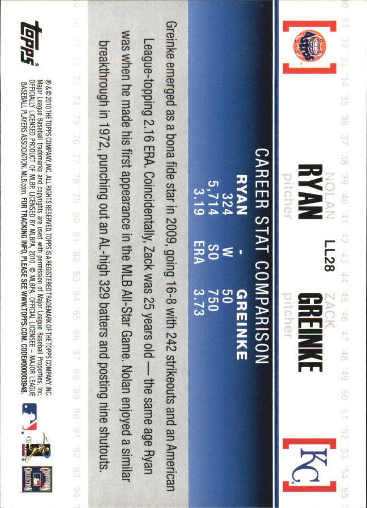 2010 Topps Legendary Lineage #LL28 Nolan Ryan/Zack Greinke back image