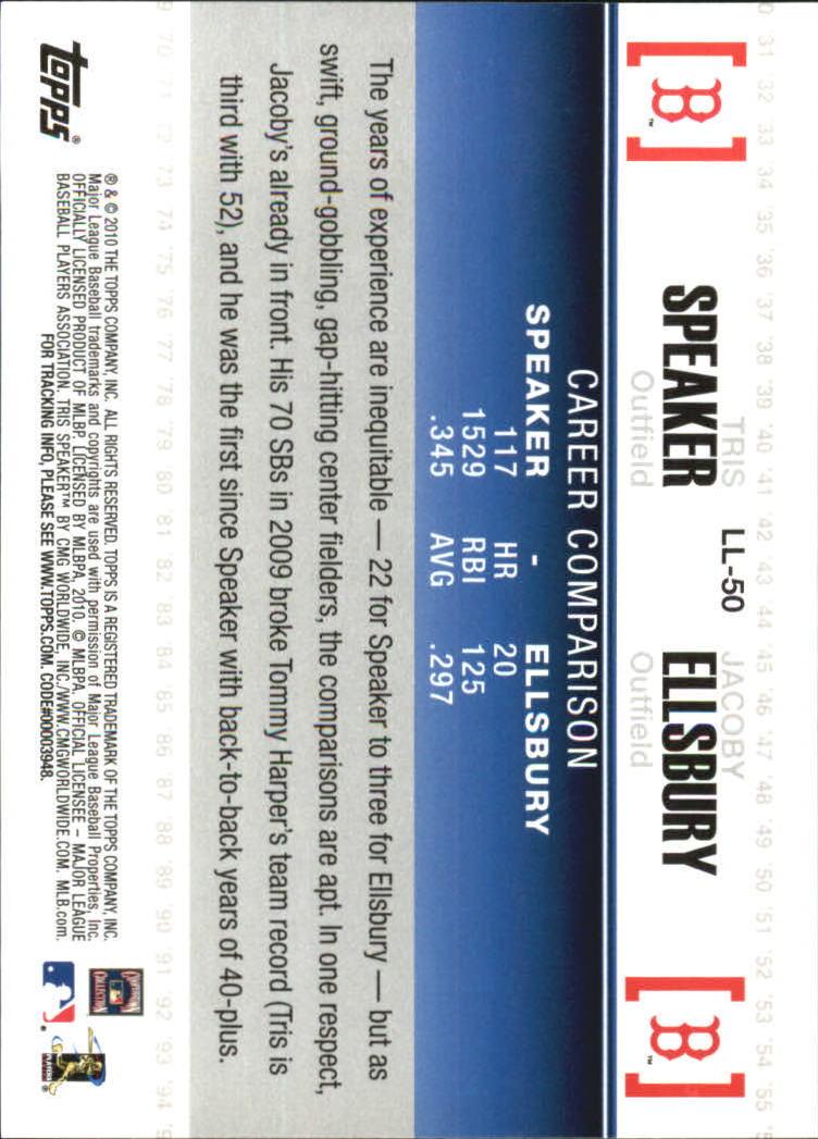 2010 Topps Legendary Lineage #LL50 Tris Speaker/Jacoby Ellsbury back image