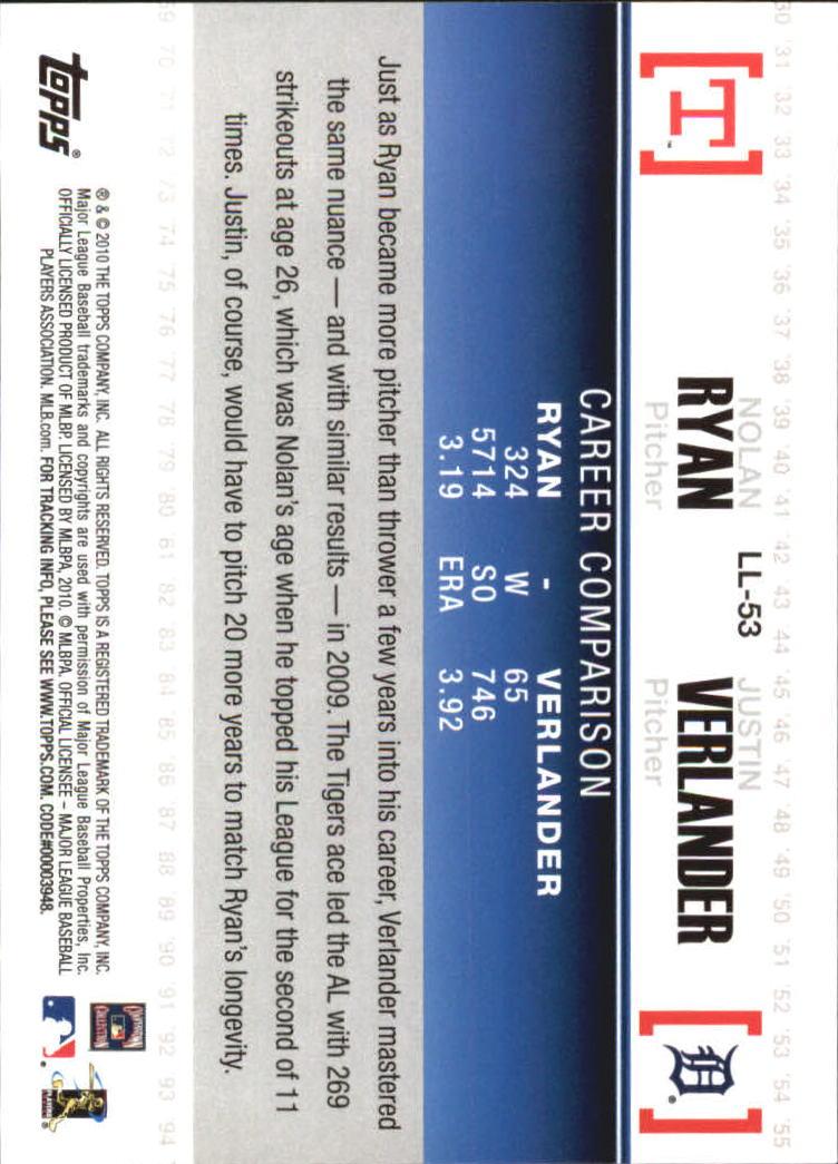 2010 Topps Legendary Lineage #LL53 Nolan Ryan/Justin Verlander back image