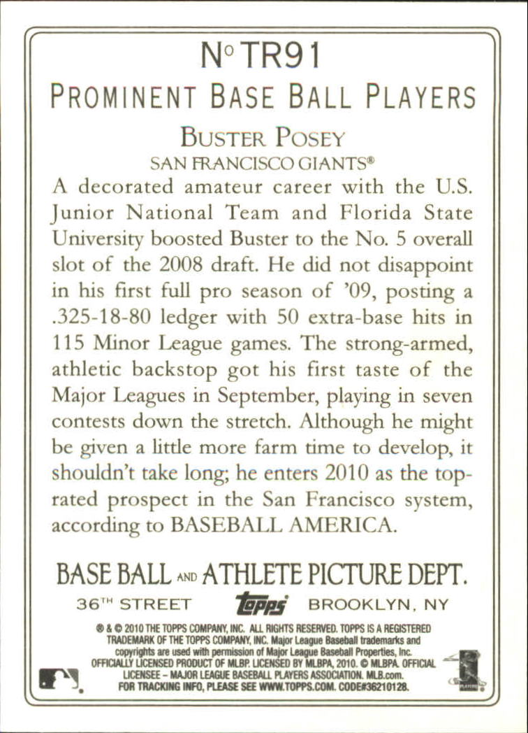 2010 Topps Turkey Red #TR91 Buster Posey back image