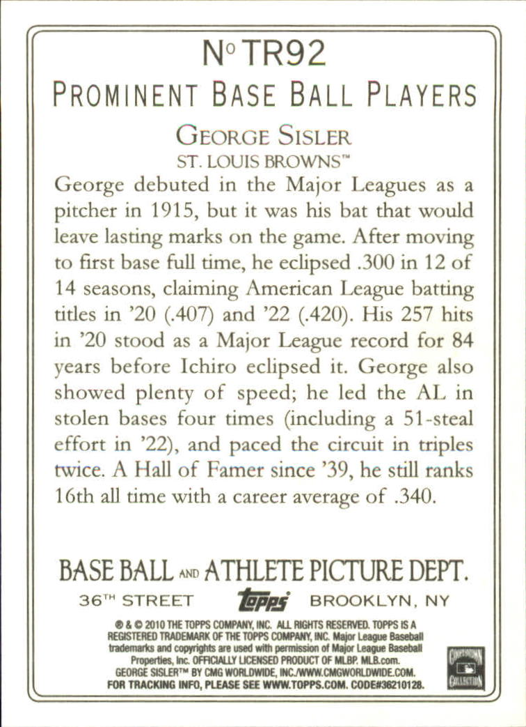 2010 Topps Turkey Red #TR92 George Sisler back image
