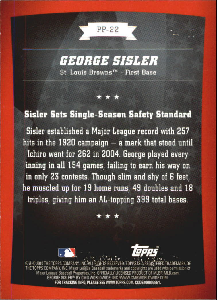 2010 Topps Peak Performance #22 George Sisler back image
