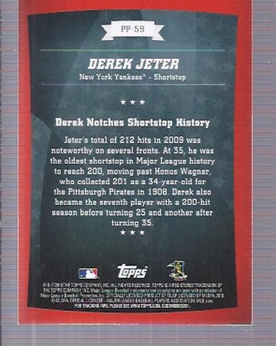 2010 Topps Peak Performance #59 Derek Jeter back image