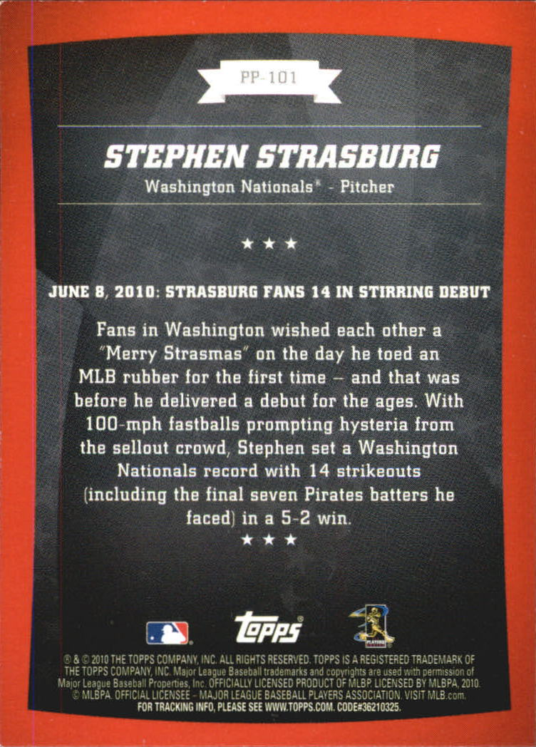 2010 Topps Peak Performance #101 Stephen Strasburg back image