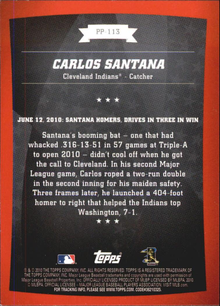 2010 Topps Peak Performance #113 Carlos Santana back image