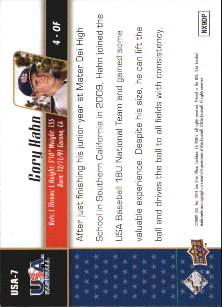 2009 Upper Deck Signature Stars USA Star Prospects #USA7 Cory Hahn back image