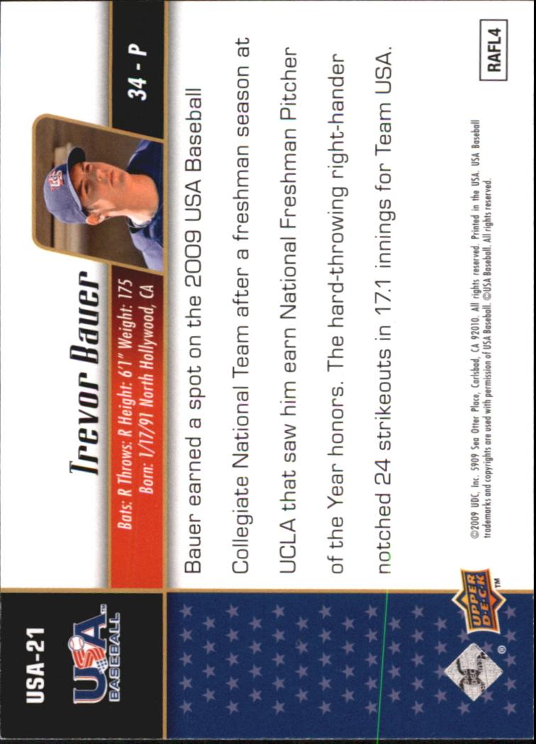 2009 Upper Deck Signature Stars USA Star Prospects #USA21 Trevor Bauer back image