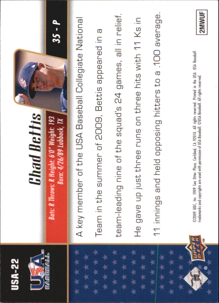 2009 Upper Deck Signature Stars USA Star Prospects #USA22 Chad Bettis back image