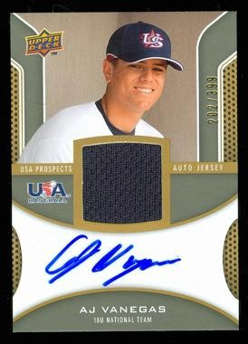 2009 Upper Deck Signature Stars USA Star Prospects Jersey Autographs #AV AJ Vanegas